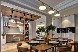 现代北欧三居装修餐桌布置图