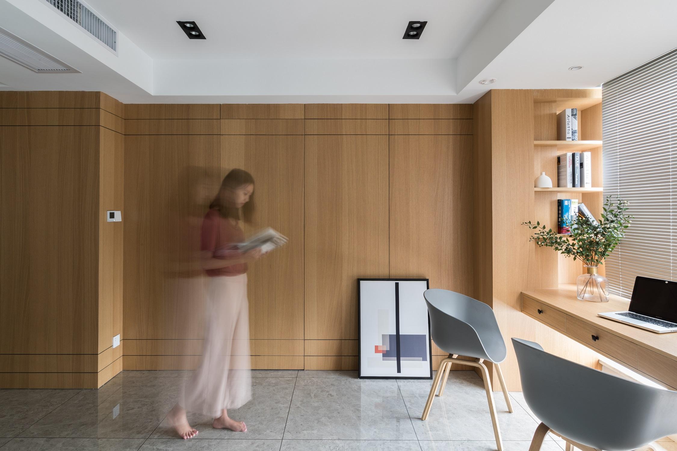 现代简约装修书房背景墙图片