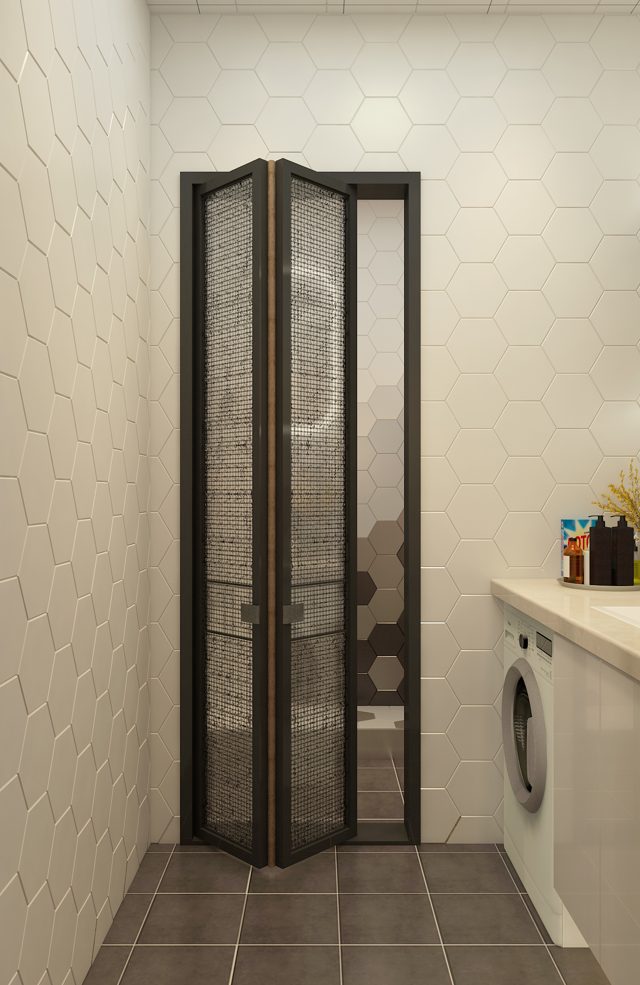 二居室混搭风格家卫生间折叠门设计