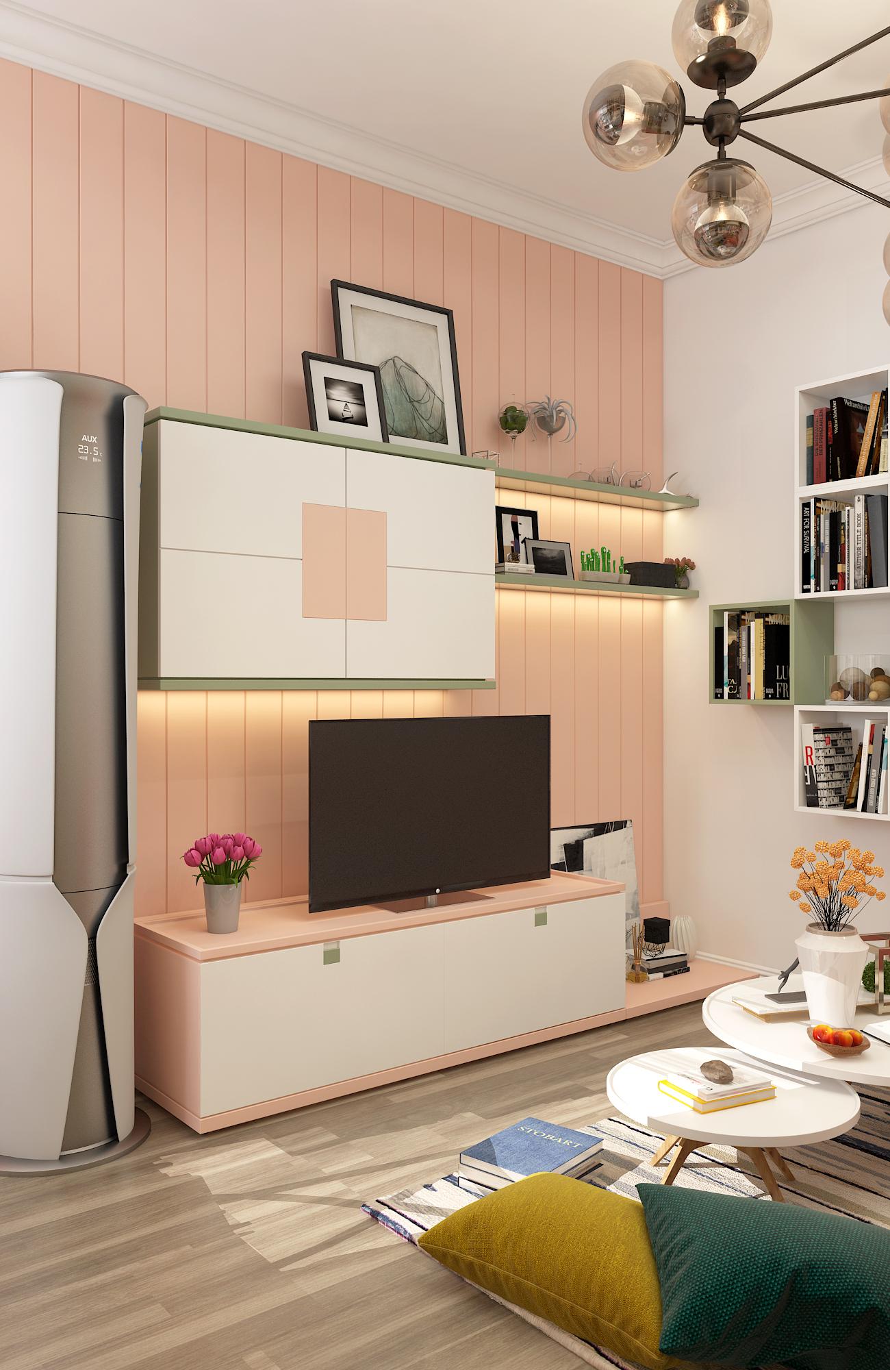 二居室混搭风格家电视背景墙图片