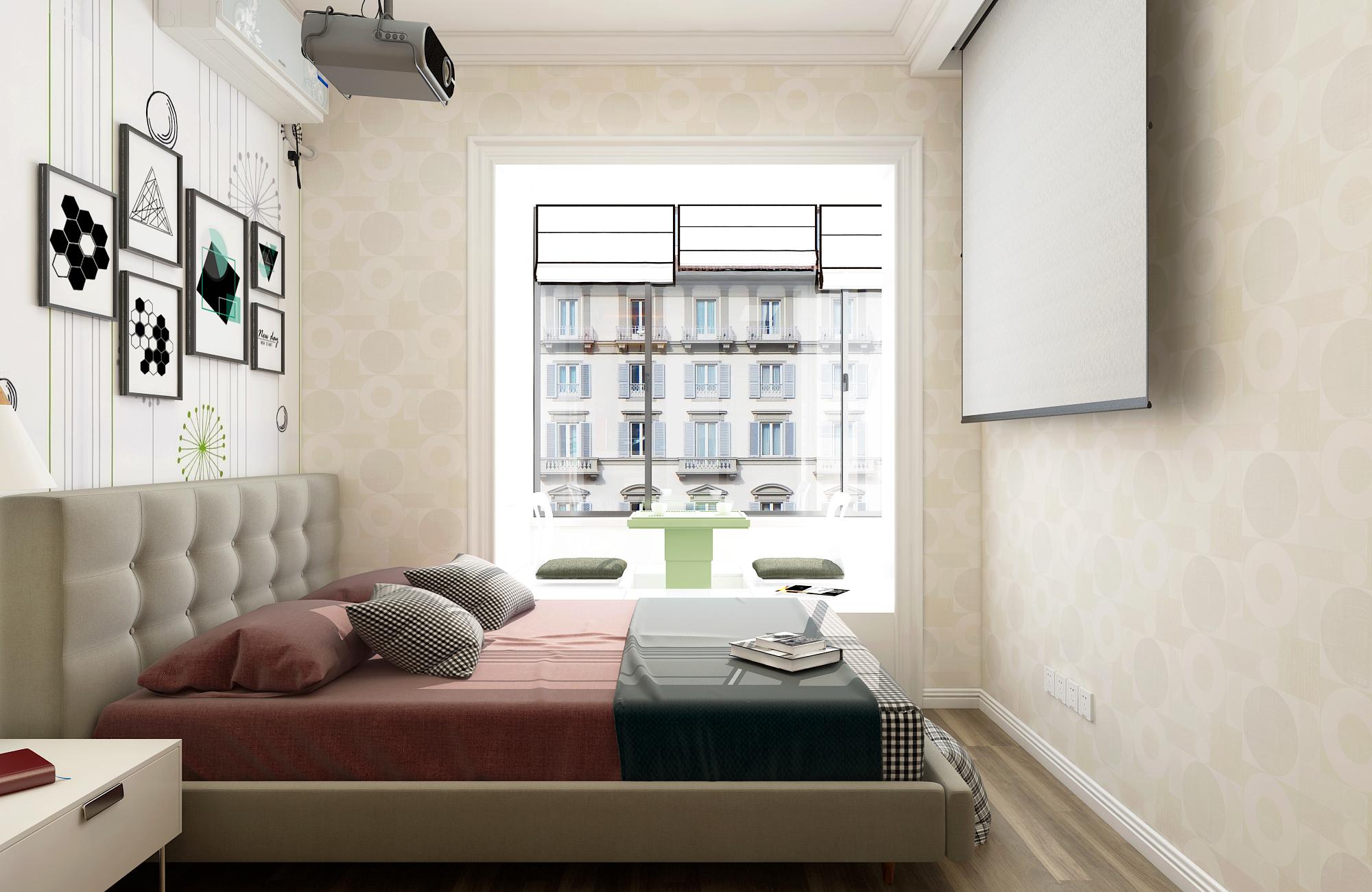 二居室混搭风格家卧室效果图