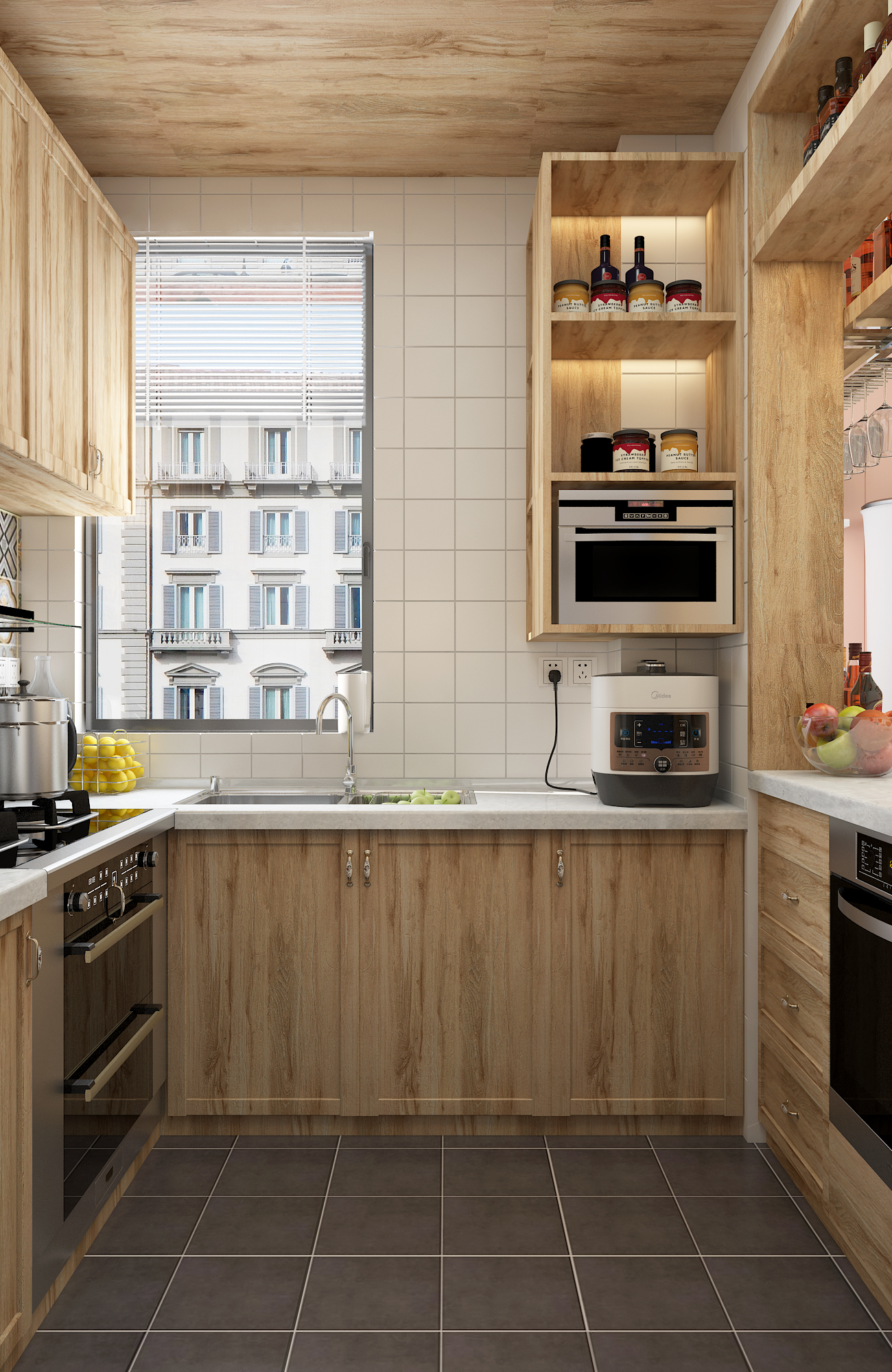 二居室混搭风格家厨房效果图