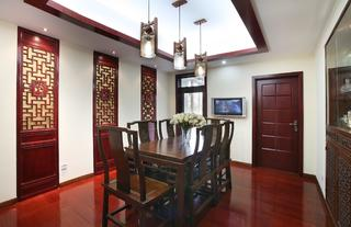 新中式复式装修餐厅效果图