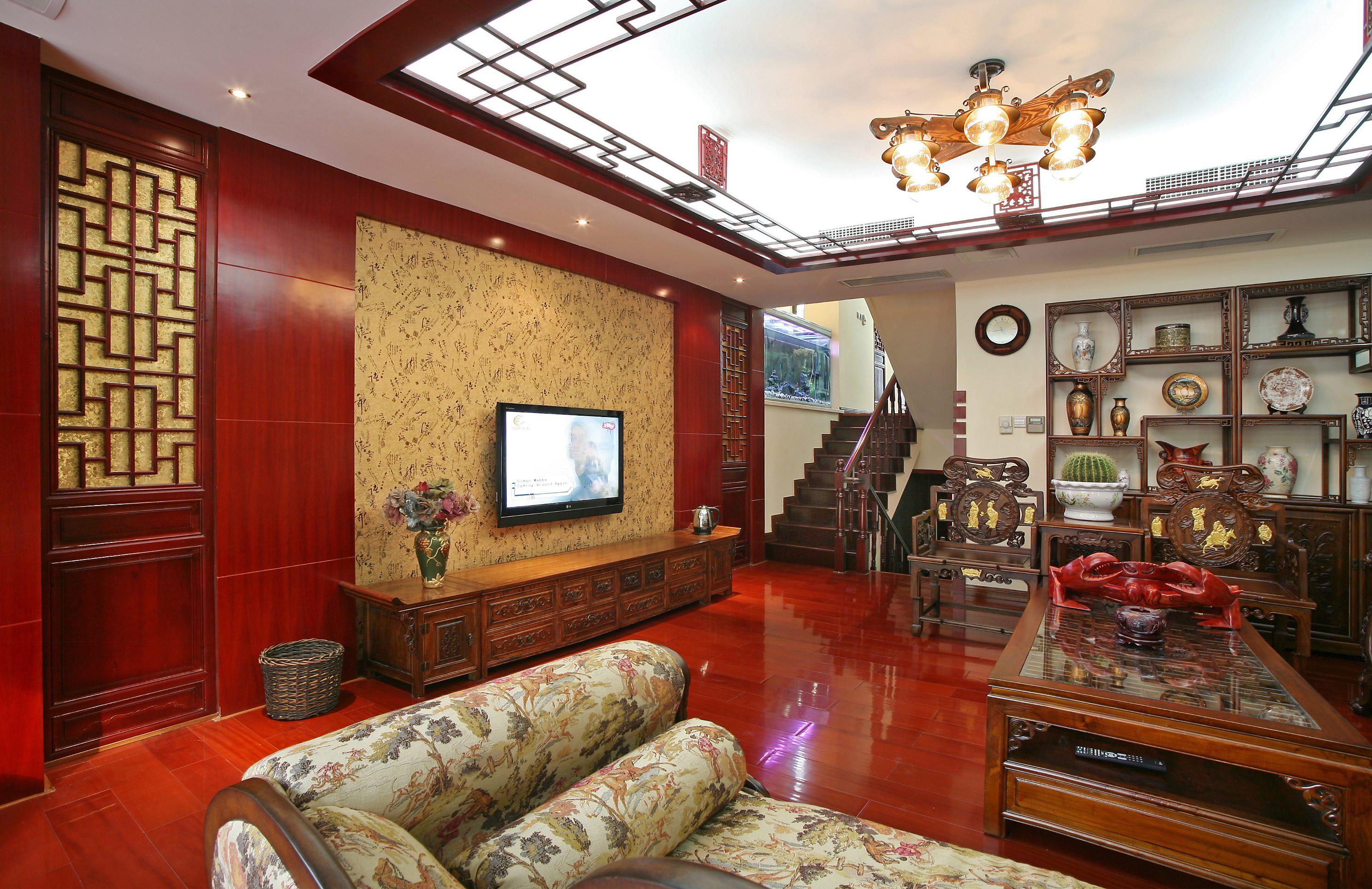 新中式复式装修客厅顶面造型