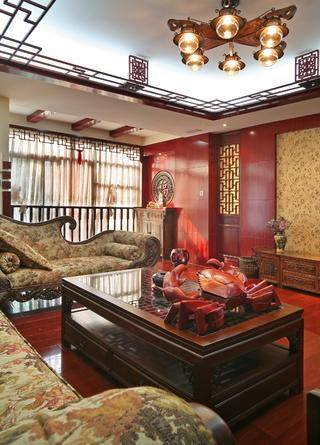 新中式复式装修茶几摆设