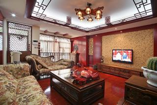 新中式復式裝修電視背景墻圖片
