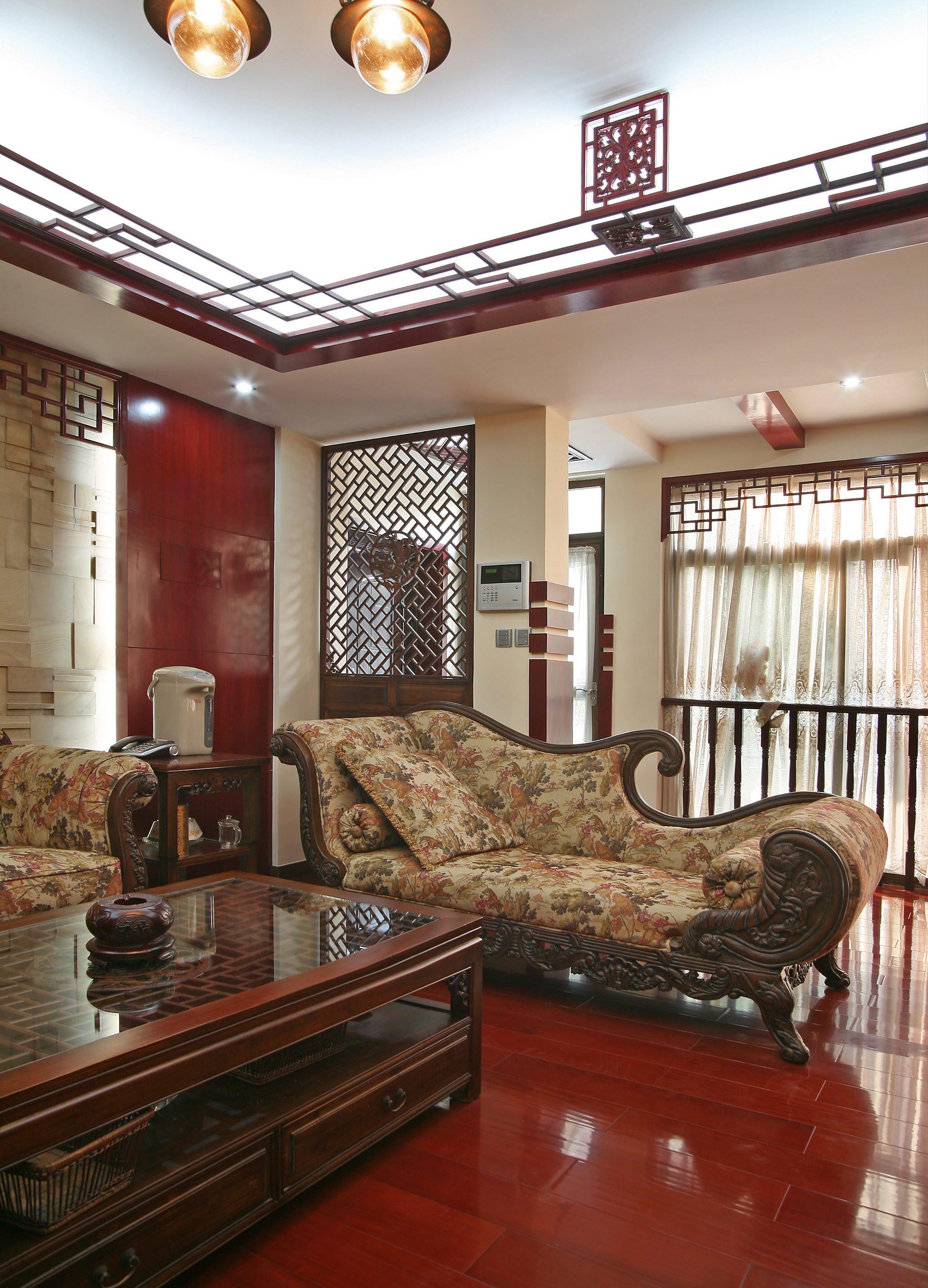 新中式复式装修贵妃椅图片