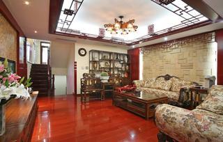 新中式复式装修沙发背景墙图片