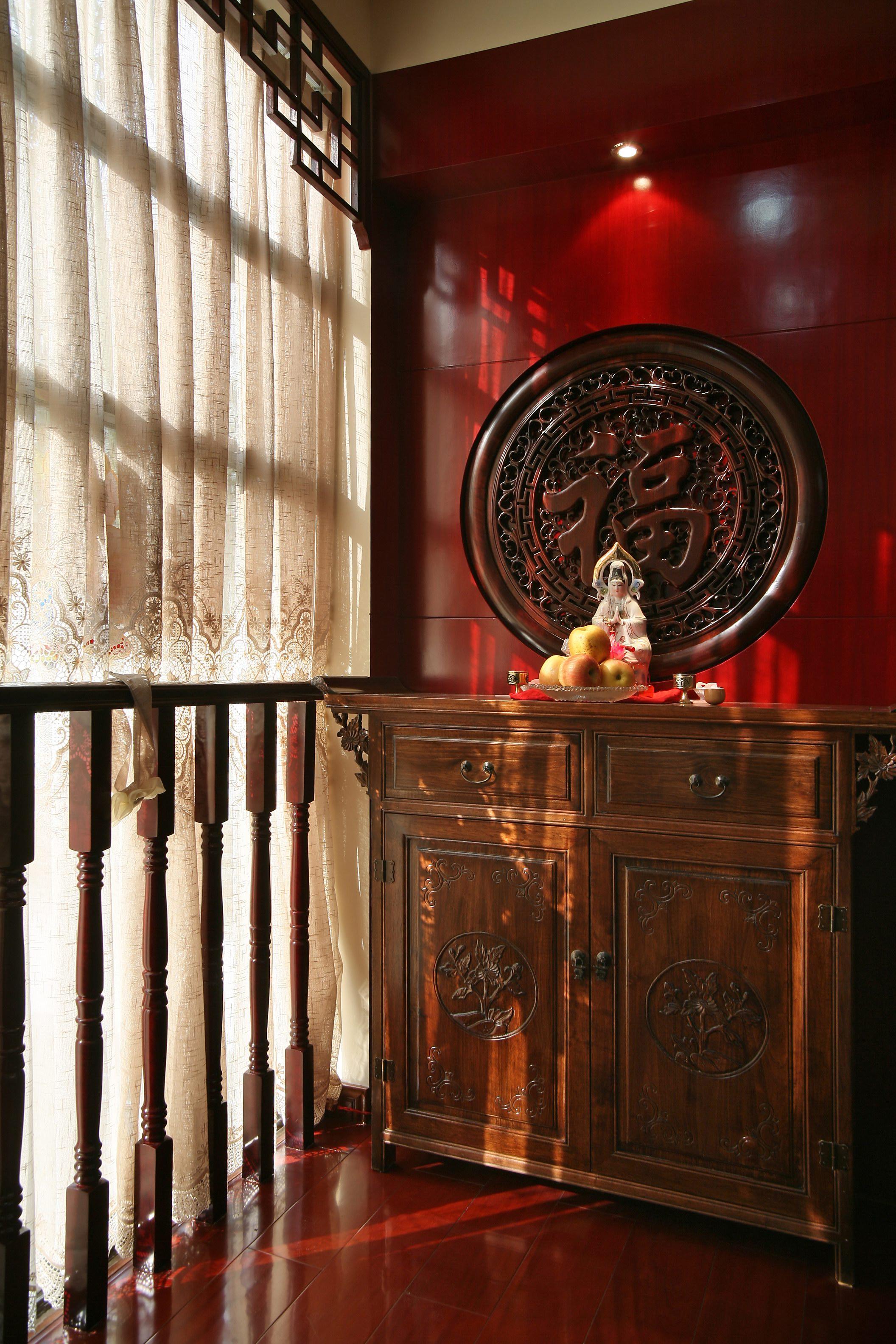 新中式复式装修玄关柜图片