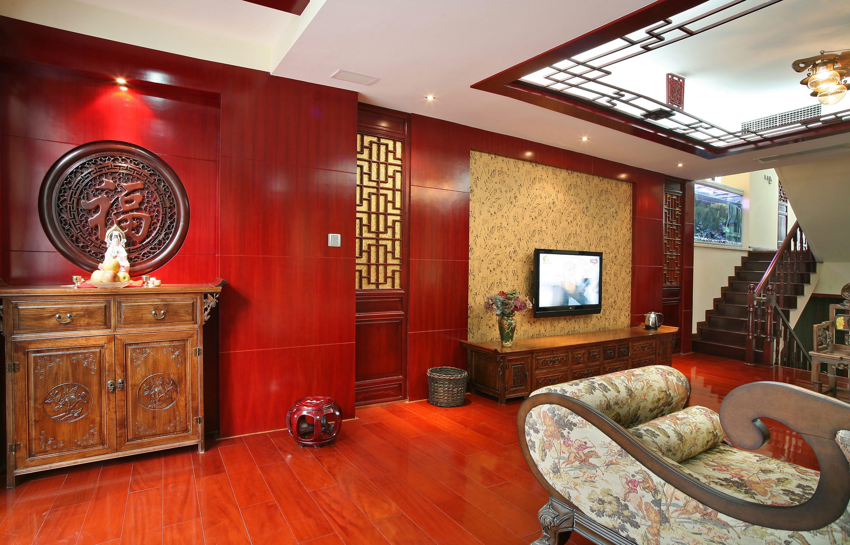 新中式复式装修客厅背景墙图片