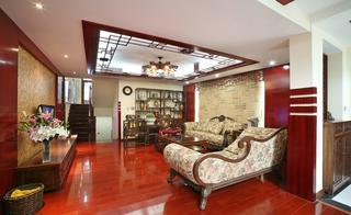 新中式复式装修客厅效果图