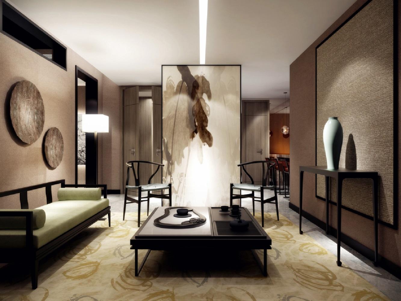 中式风装修茶室效果图