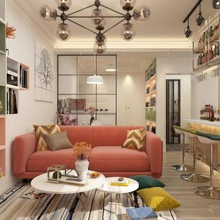 二居室混搭风格家 多彩马卡龙