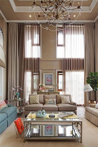 美式复式装修客厅挑高设计