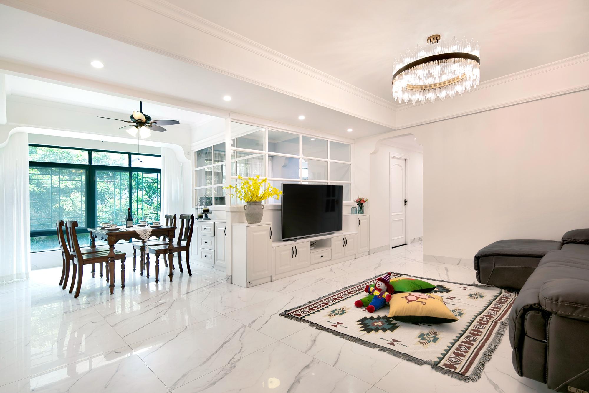 三居室现代美式家客餐厅效果图