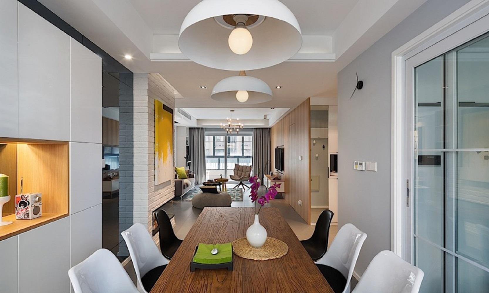 60平北欧二居装修餐桌图片