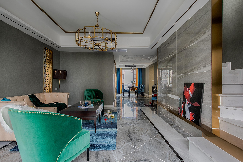 四居室新古典设计客厅局部吊顶图片
