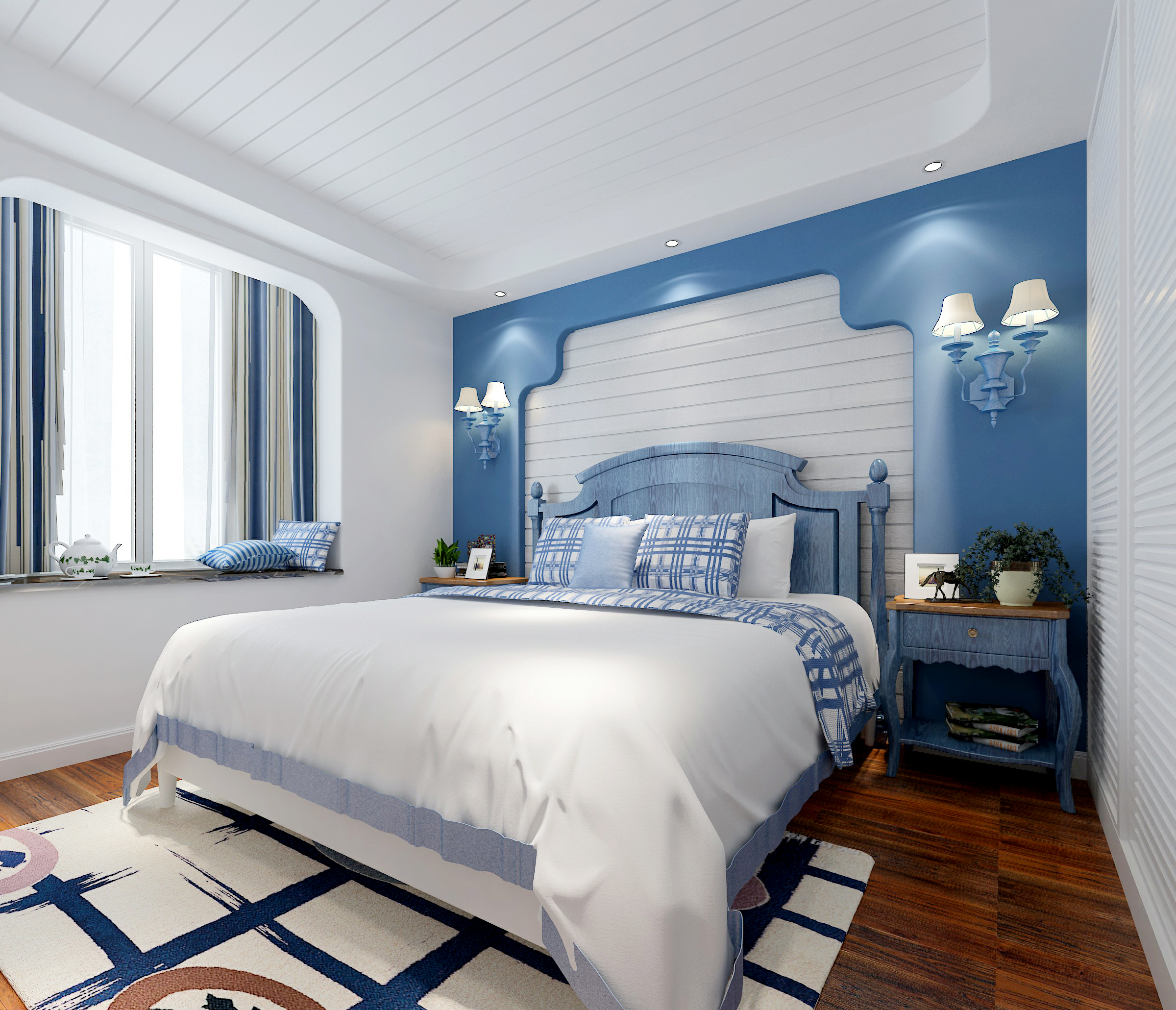 三居室地中海风格家卧室效果图
