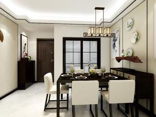 110平新中式装修餐厅效果图