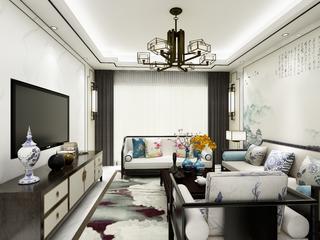 110平新中式装修客厅效果图