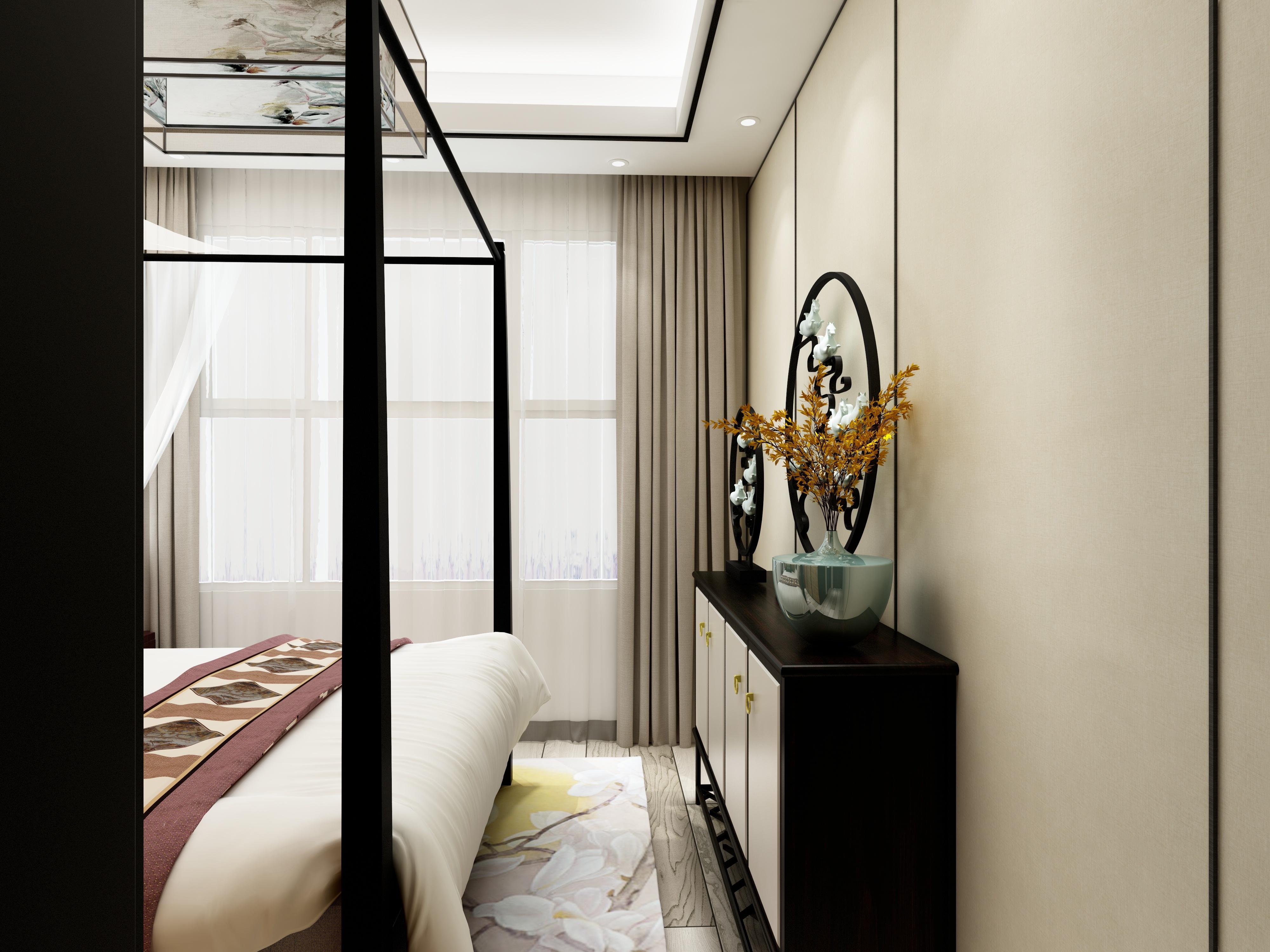 110平新中式装修床脚柜装饰摆件