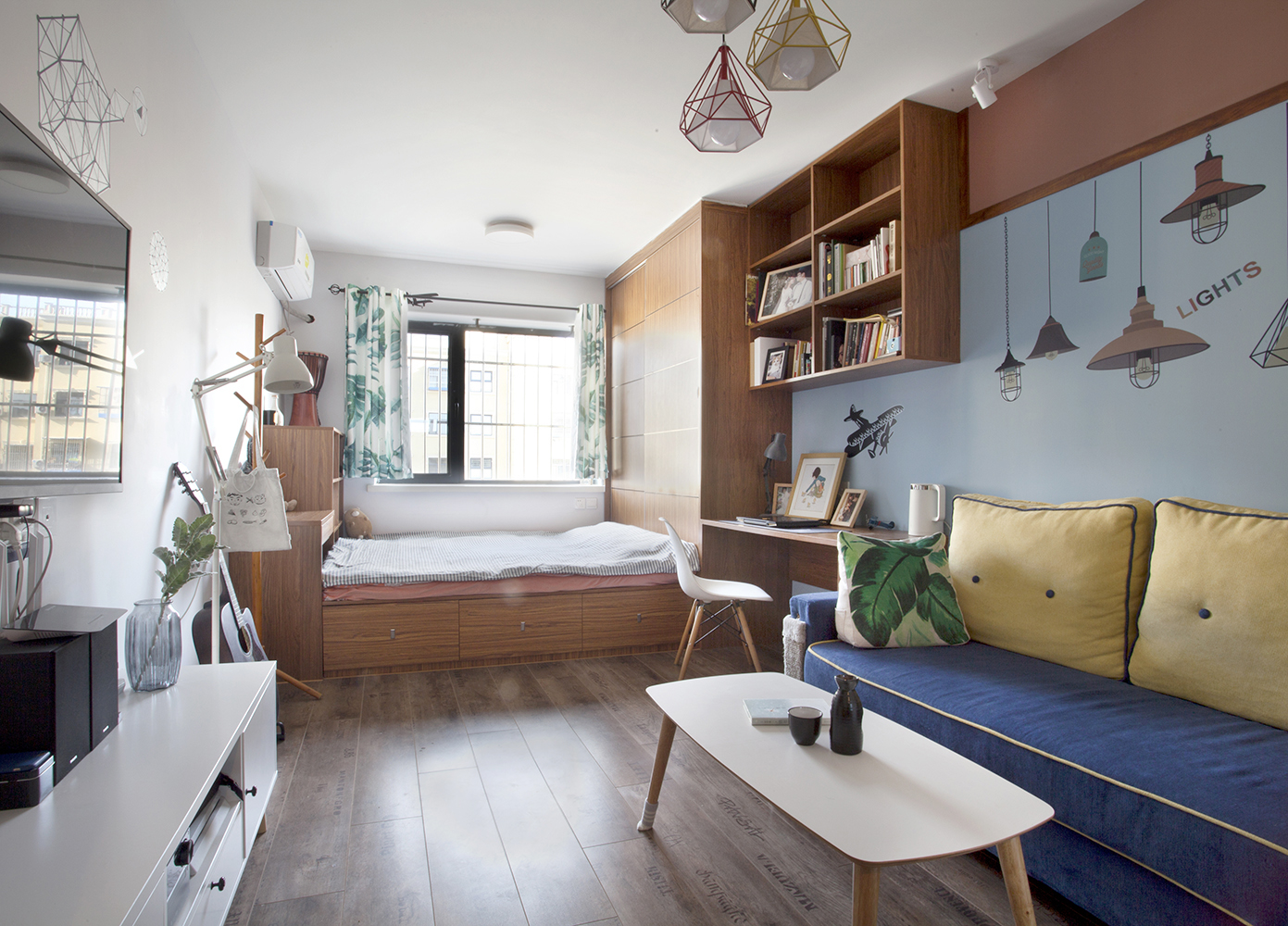 50平混搭空间多功能地台床设计