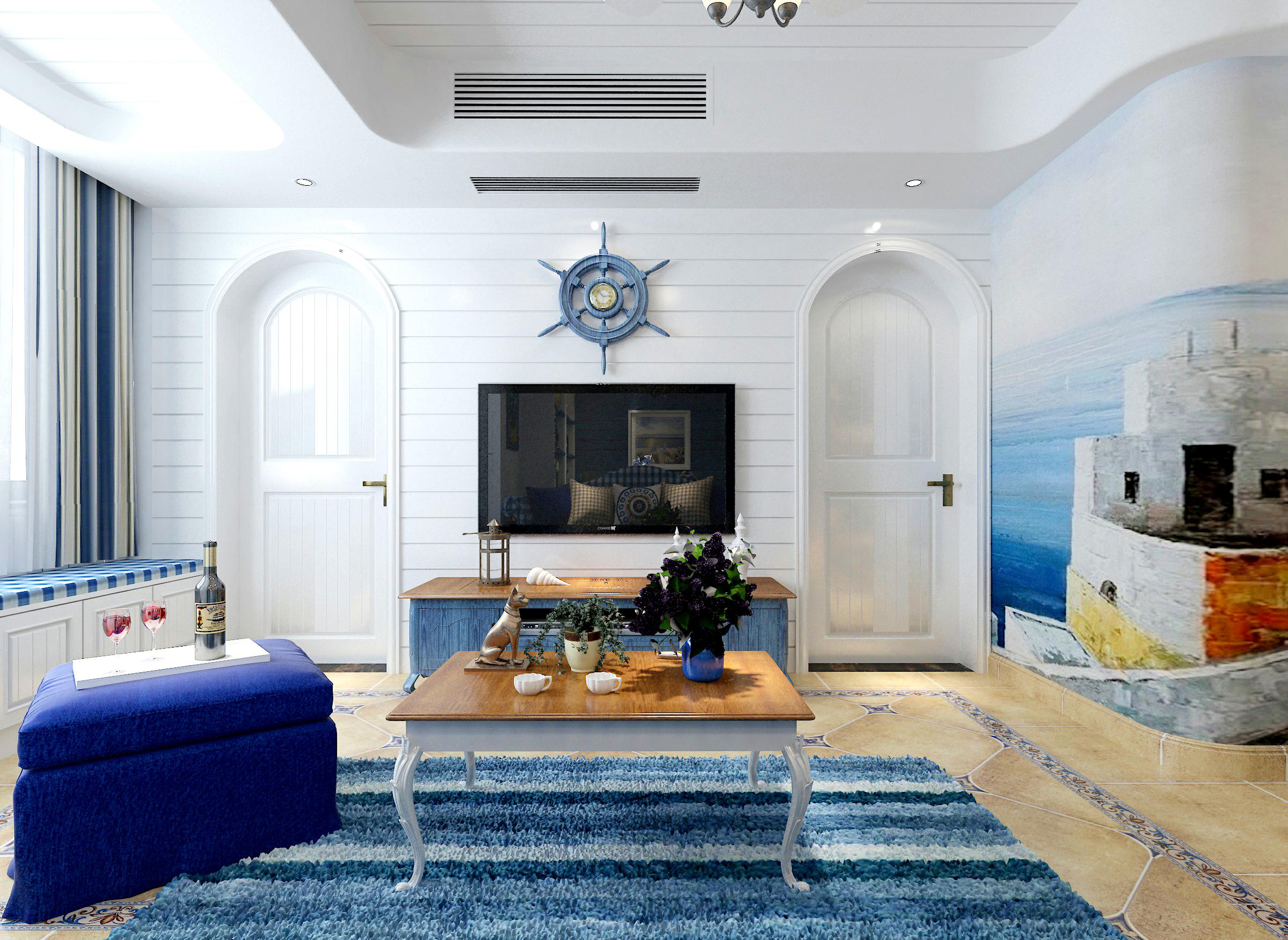 三居室地中海风格家电视背景墙图片