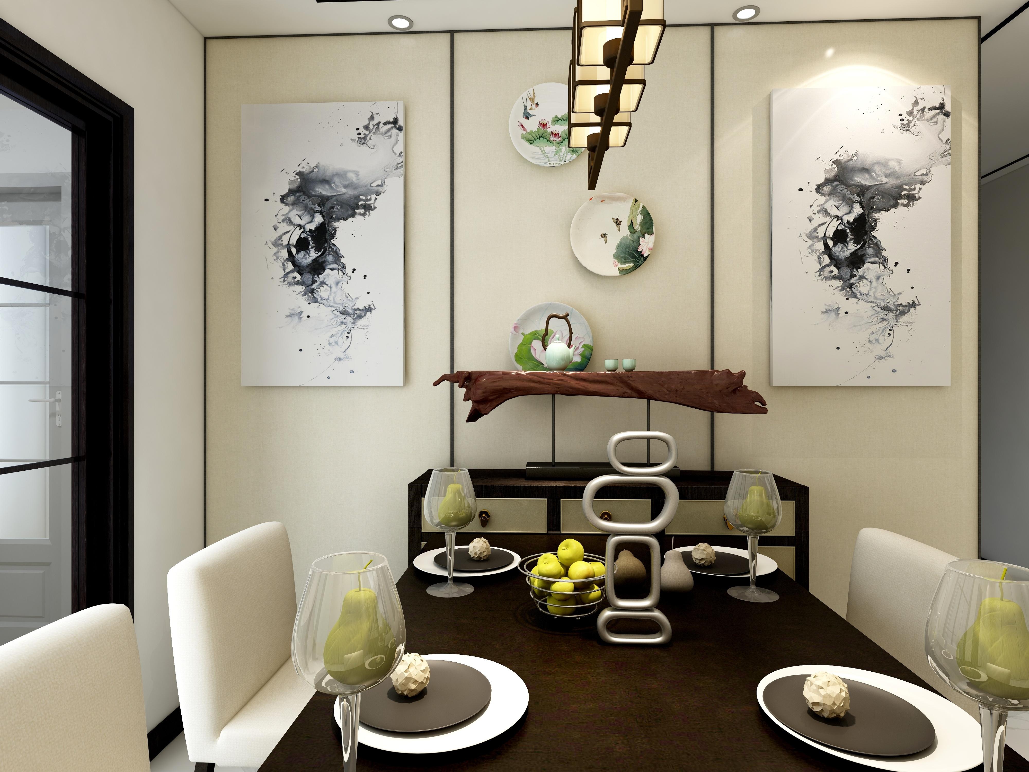 110平新中式装修餐厅背景墙图片