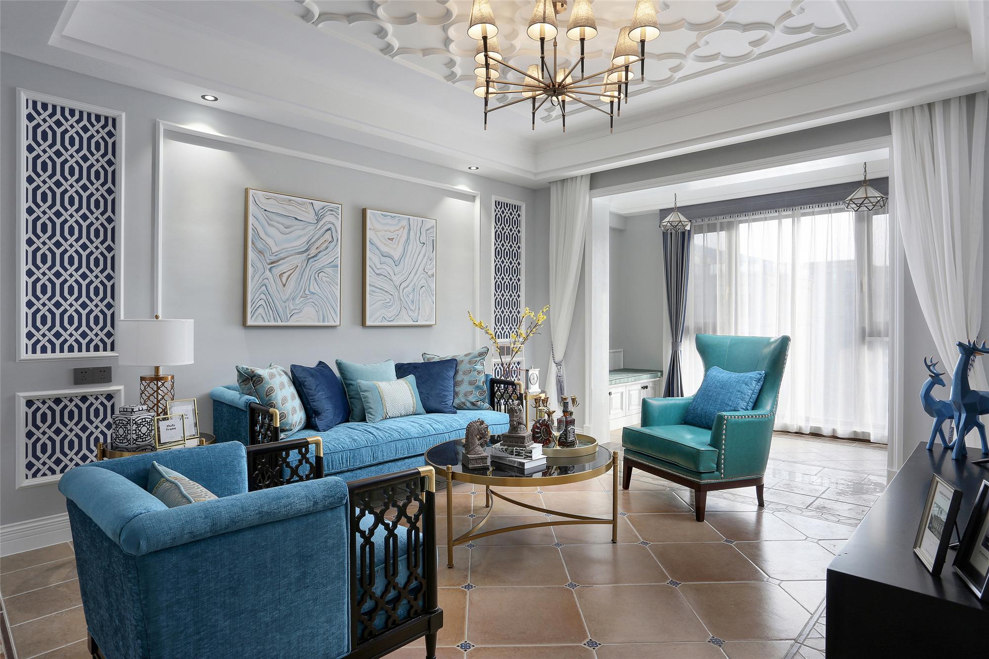 美式三居装修沙发背景墙图片