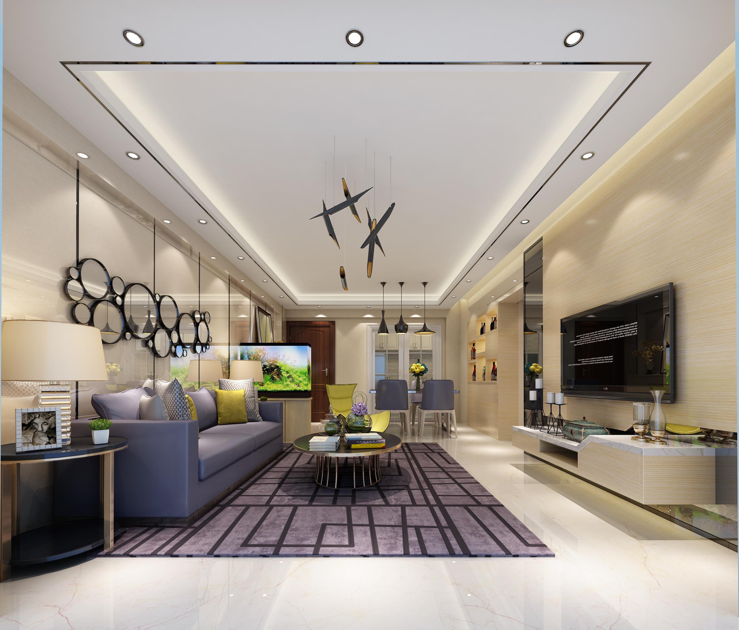 简约三居室装修客厅设计图