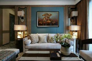 新中式三居装修沙发背景墙图片