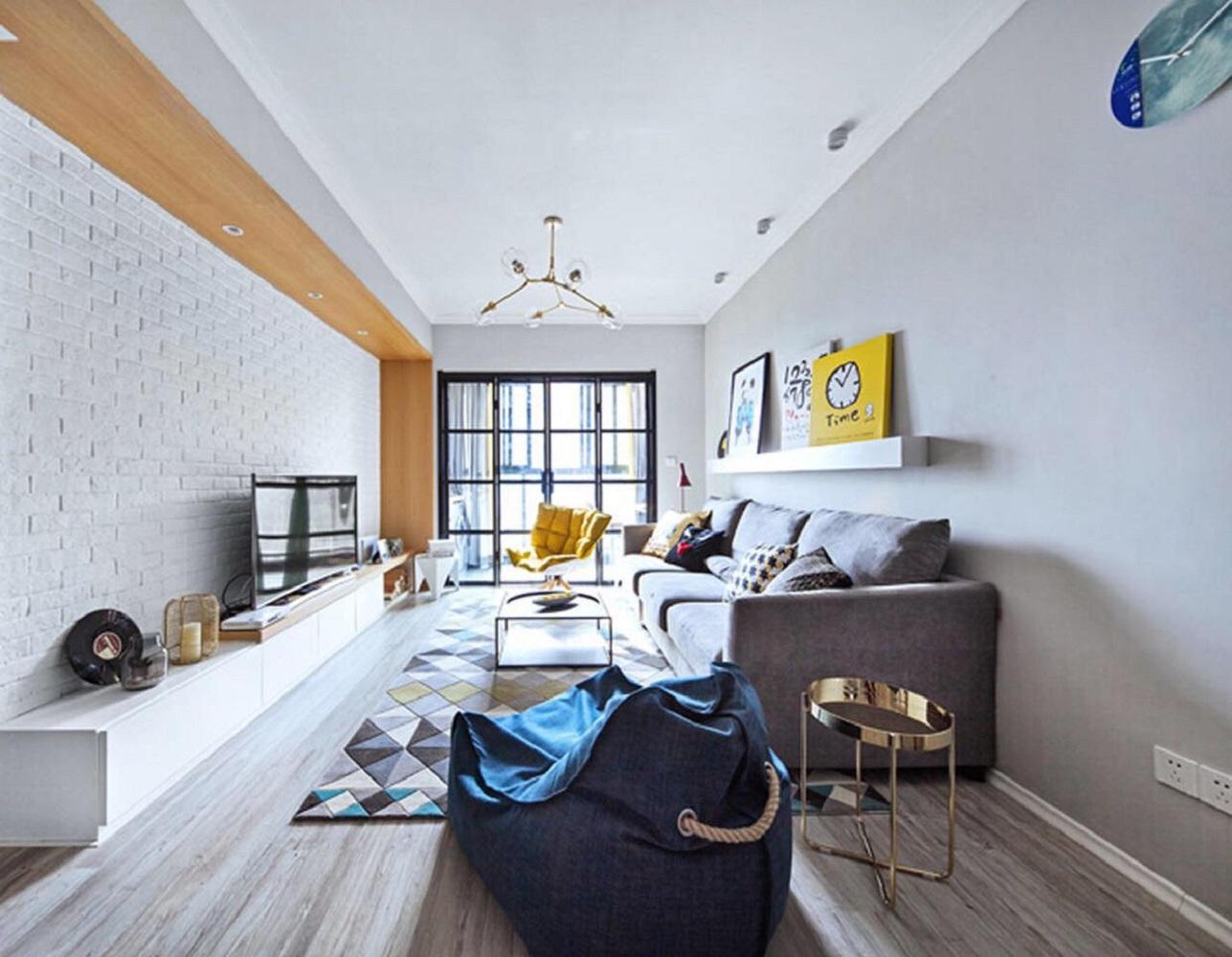 二居室现代北欧装修客厅效果图
