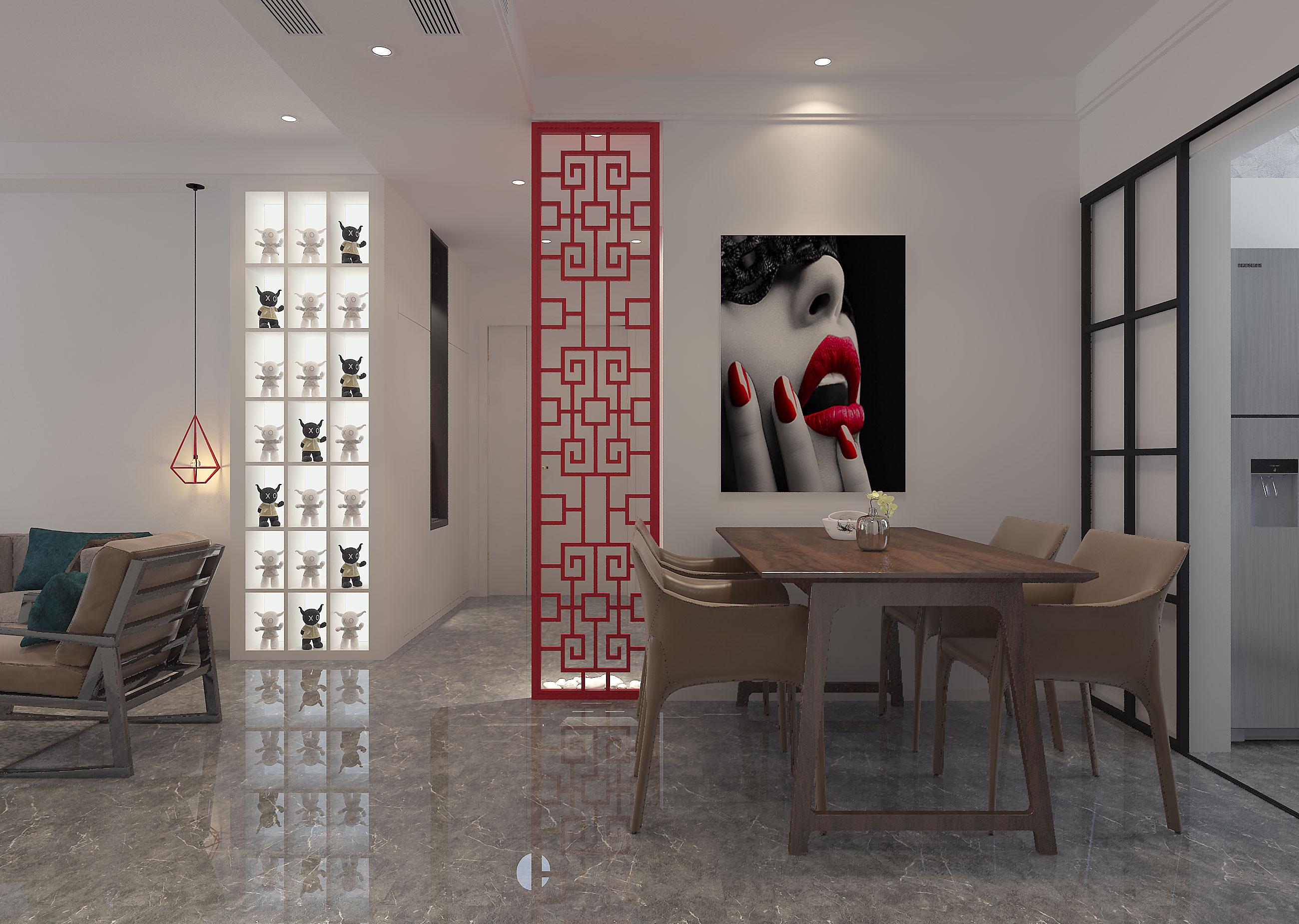 110平简约风装修餐厅背景墙图片