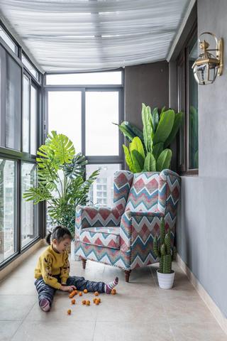 130㎡美式风格家阳台欣赏图