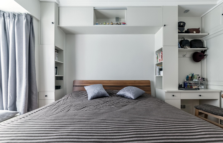 简约实用三房装修床头背景墙设计