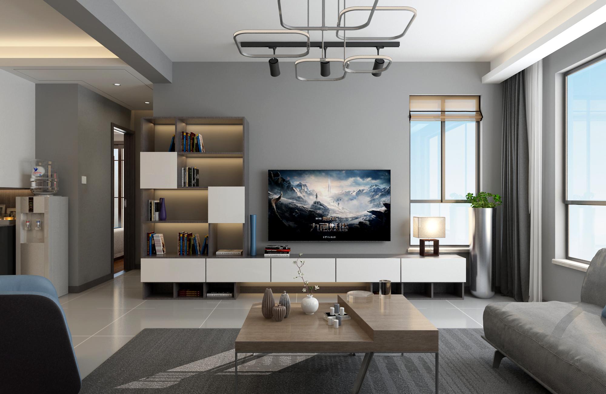 三居室现代风格家电视背景墙图片