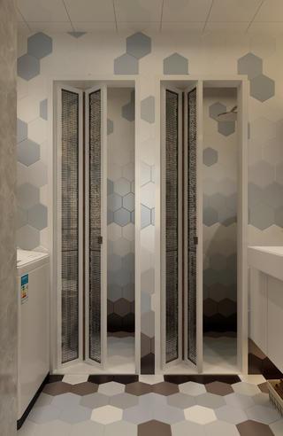 三居室现代风格家卫生间折叠门设计