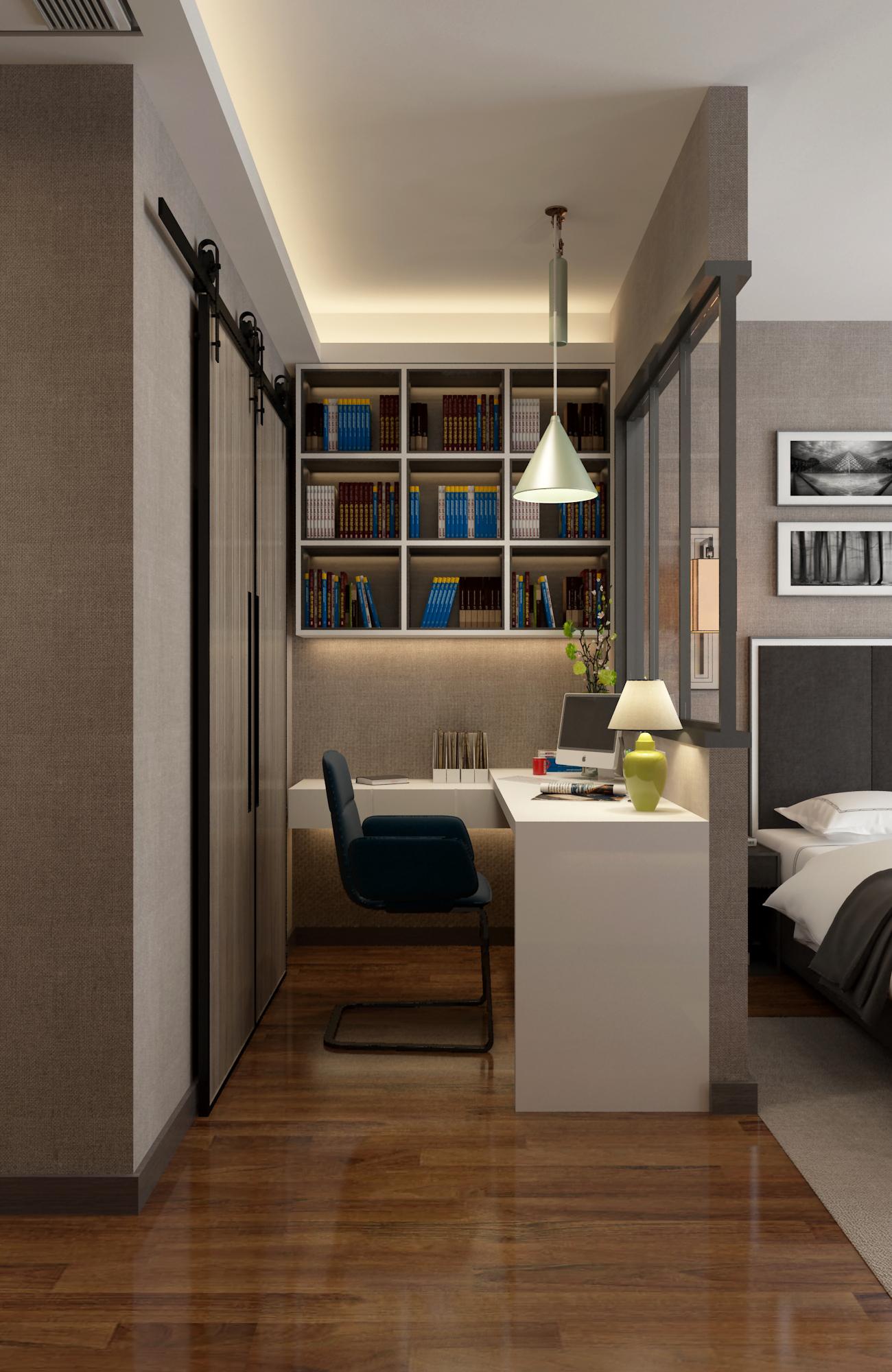 三居室现代风格家卧室工作区