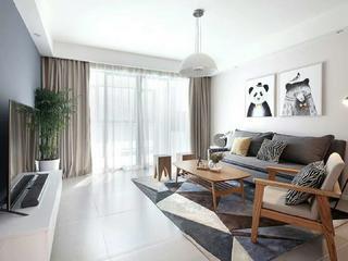 90㎡北欧风格设计客厅效果图