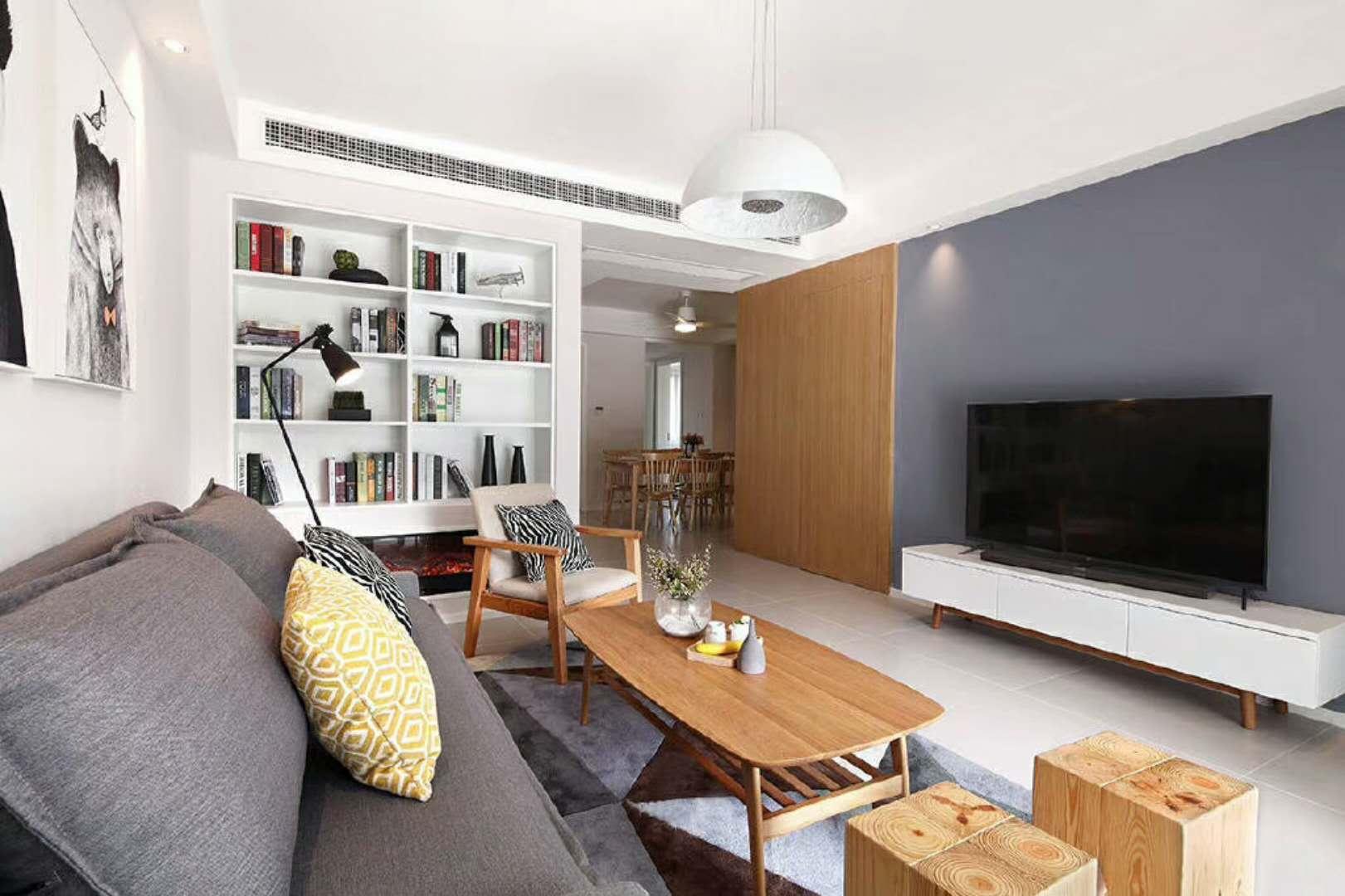 90㎡北欧风格设计电视背景墙图片