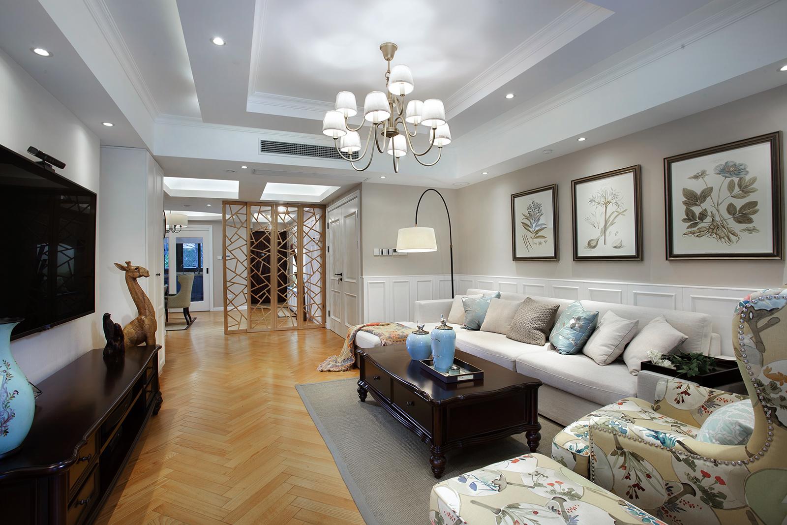 三居室美式叠层装修卧室效果图