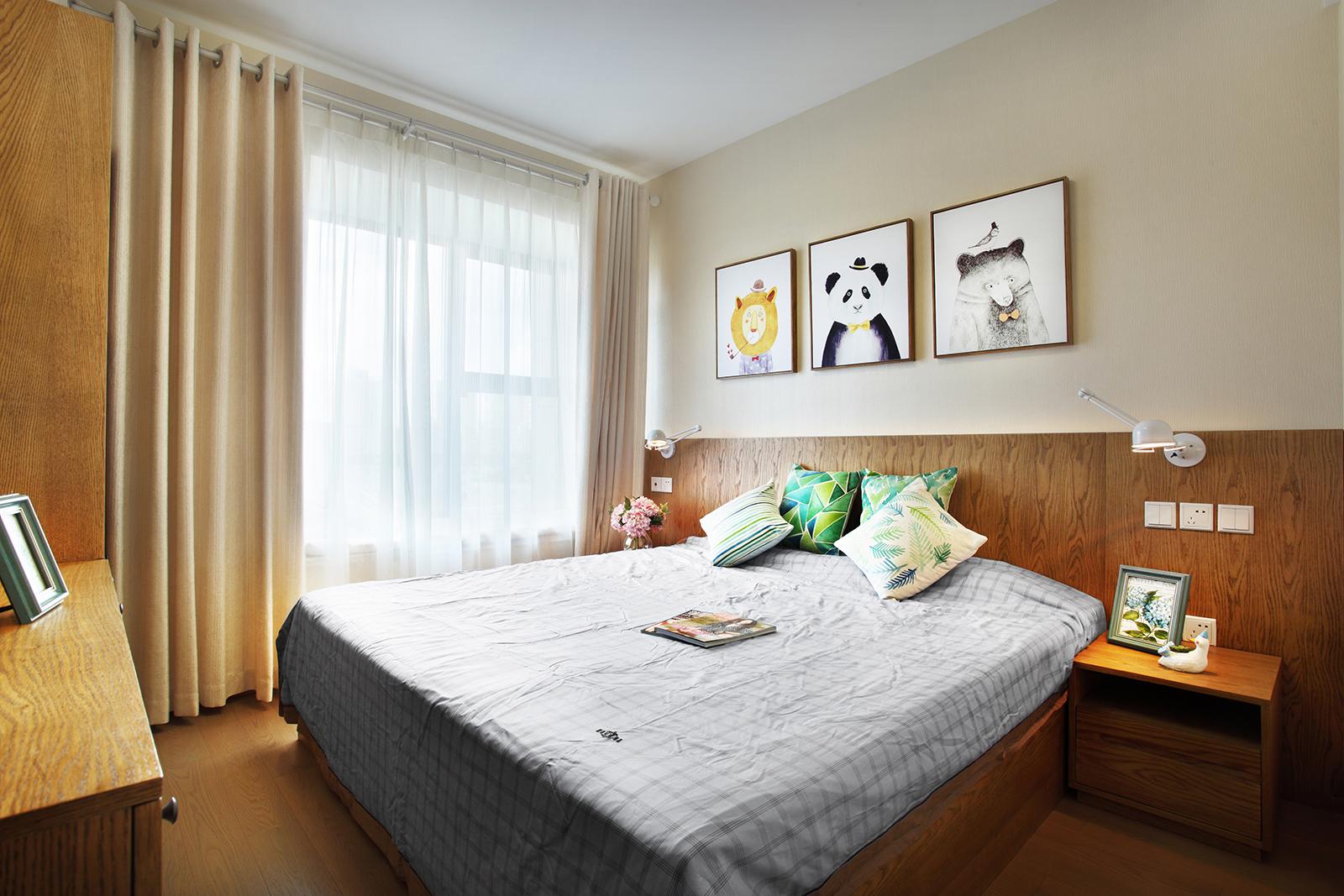 90㎡三居室装修卧室效果图