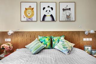 90㎡三居室装修卧室床头墙图片
