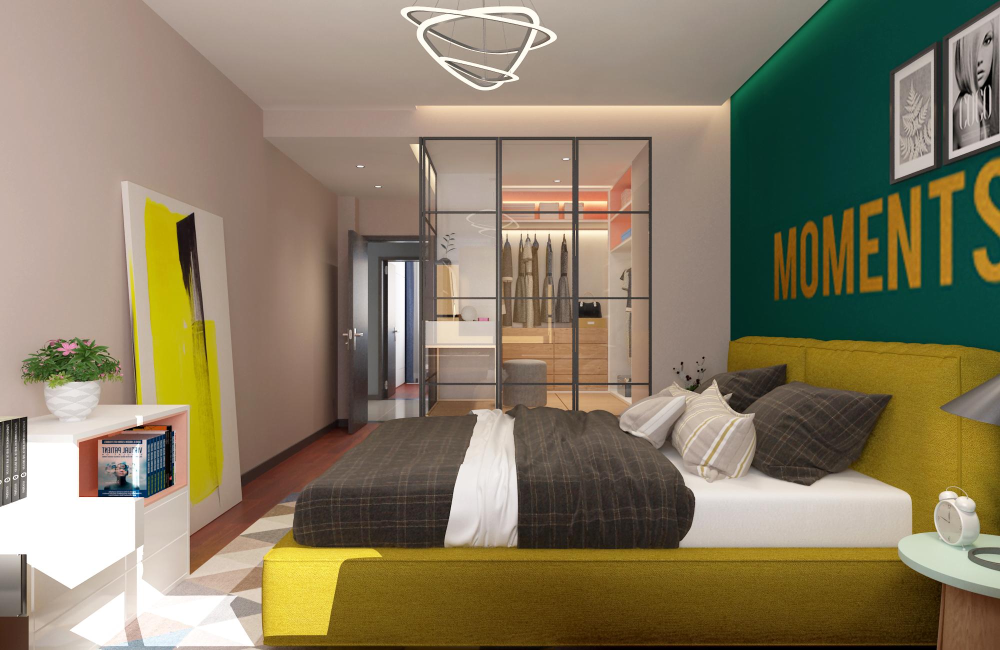 138㎡现代风装修卧室效果图