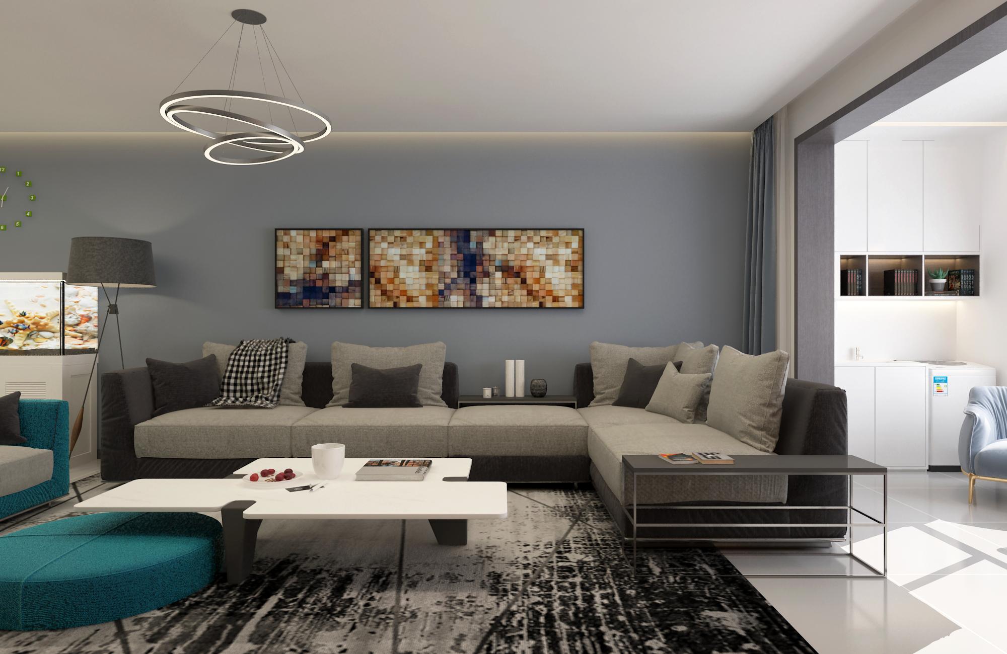138㎡现代风装修沙发背景墙图片