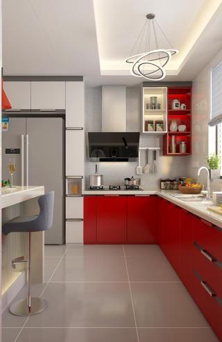 138㎡现代风装修厨房设计图