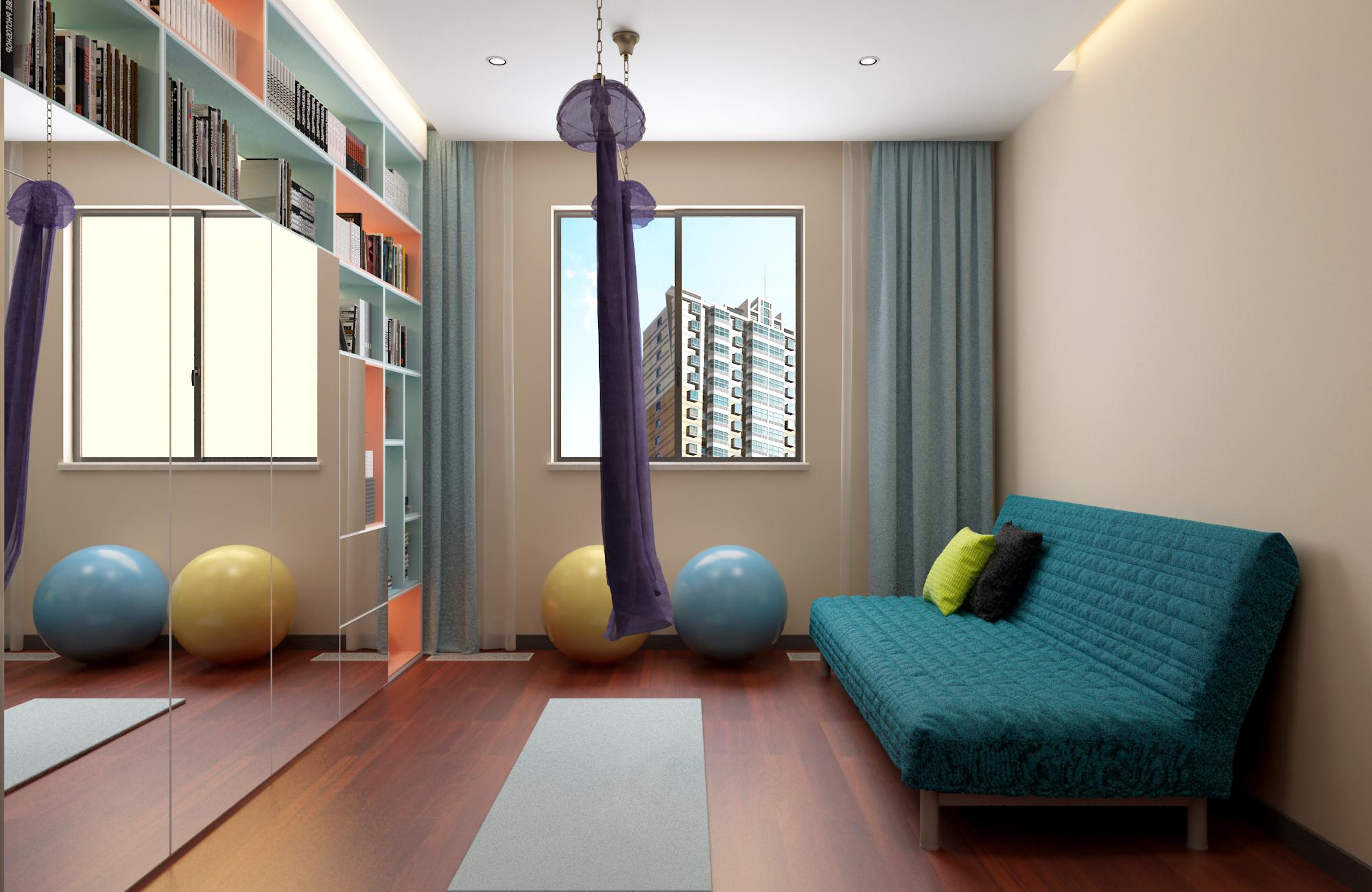 138㎡现代风装修书房兼活动区