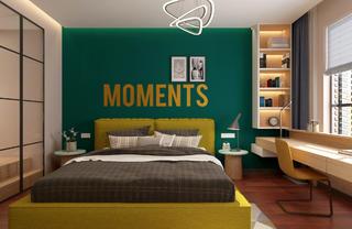 138㎡现代风装修床头墙图片