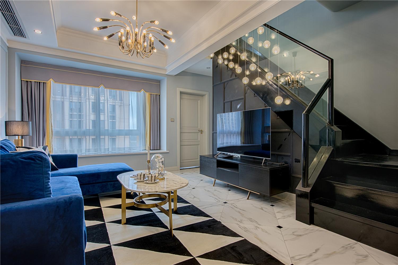 90㎡现代美式装修客厅效果图