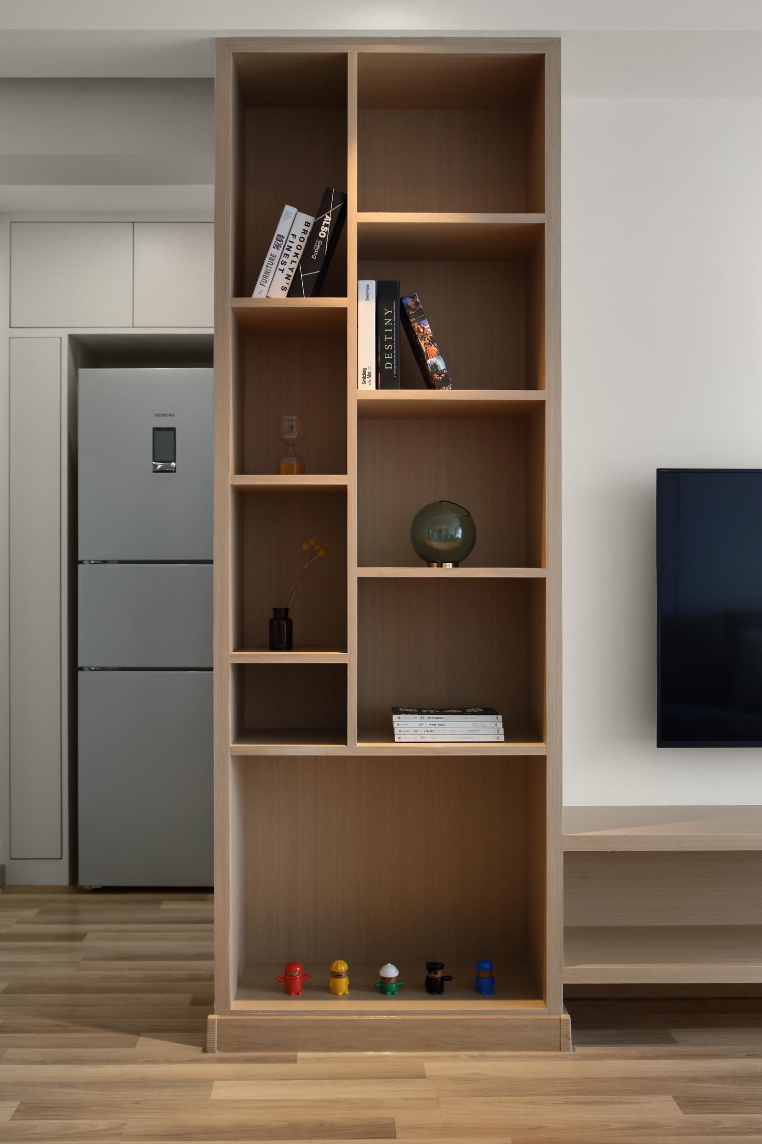 北欧二居室装修书柜图片